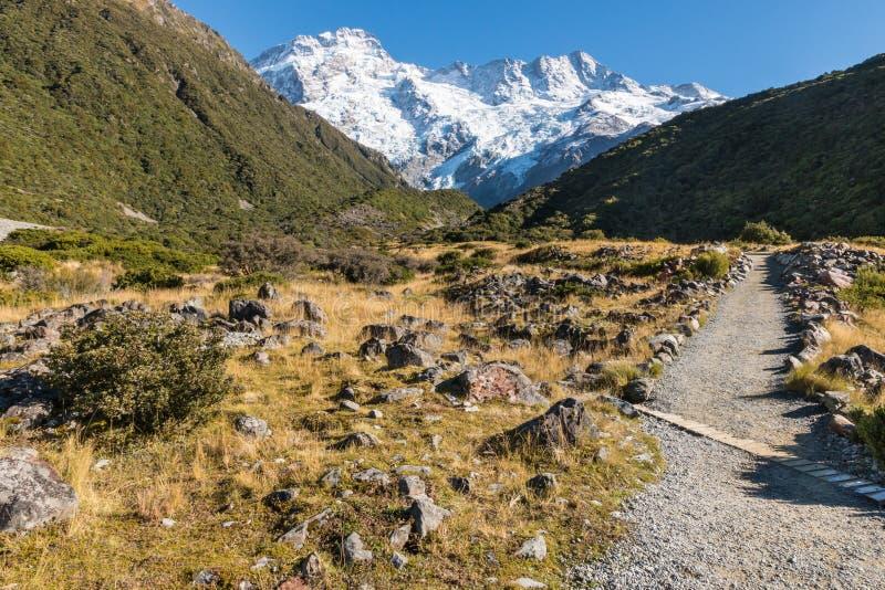 Escursione della pista che conduce per montare Sefton nel cuoco National Park di Mt, la Nuova Zelanda immagini stock libere da diritti