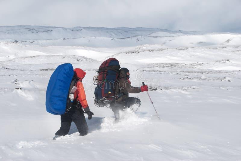 Escursione di inverno fotografie stock