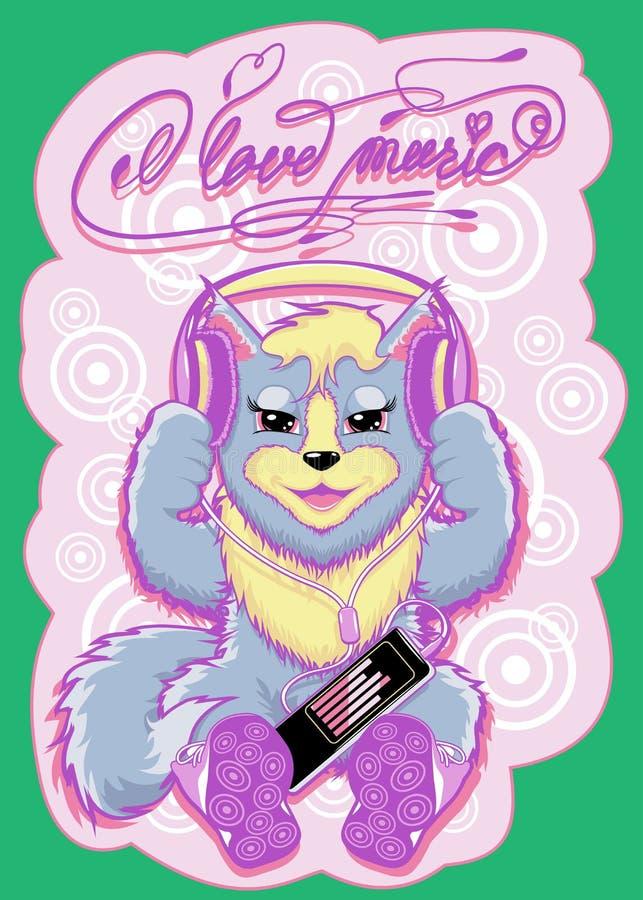 Escuta bonita da vaquinha a música em fones de ouvido Vetor, 11 cores, cópia imagem de stock
