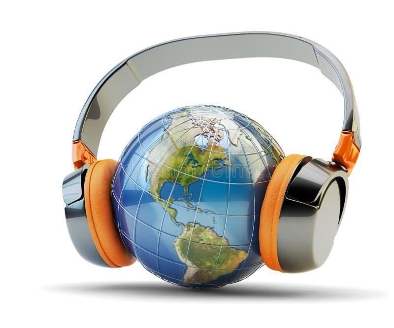 Escuta da música do mundo, uma comunicação audio em linha e conceito da transmissão do Internet ilustração royalty free