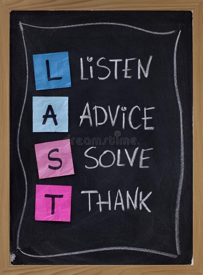 Escuta, o conselho, resolve, agradece foto de stock