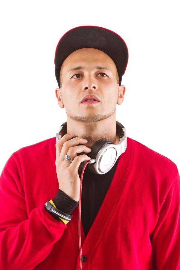 Escutando a música, senhor DJ imagem de stock