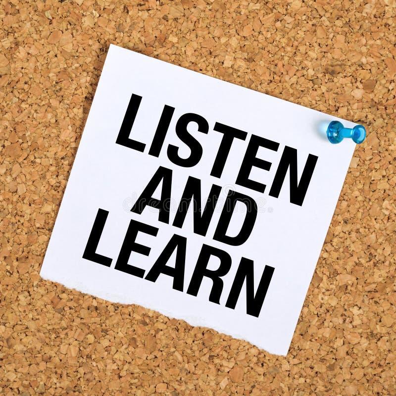 Escute e aprenda imagem de stock