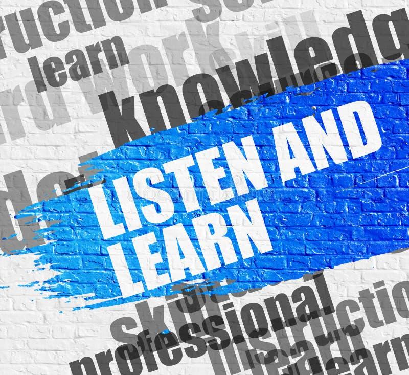 Escute e aprenda na parede de tijolo branca ilustração stock