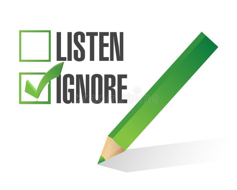 Escute ou ignore o projeto da ilustração da caixa de verificação ilustração royalty free
