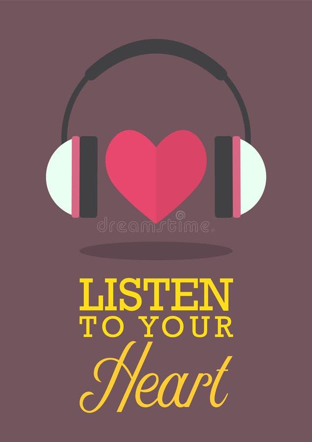 Escute seu coração ilustração do vetor