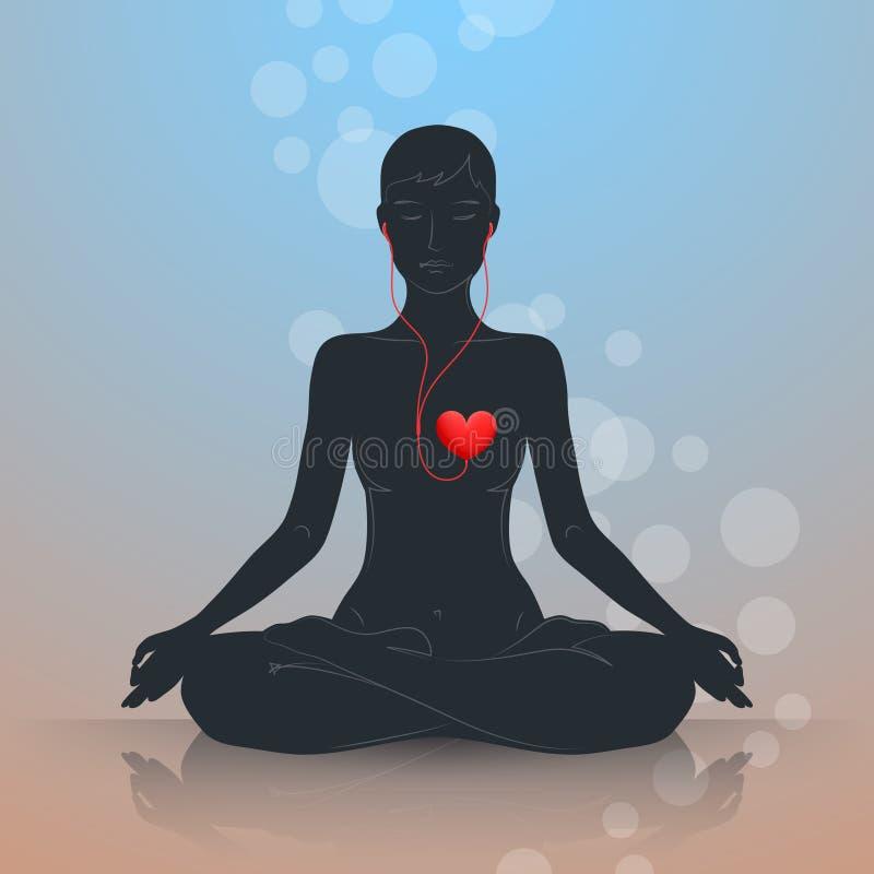 Escute seu coração Lotus Position ilustração royalty free