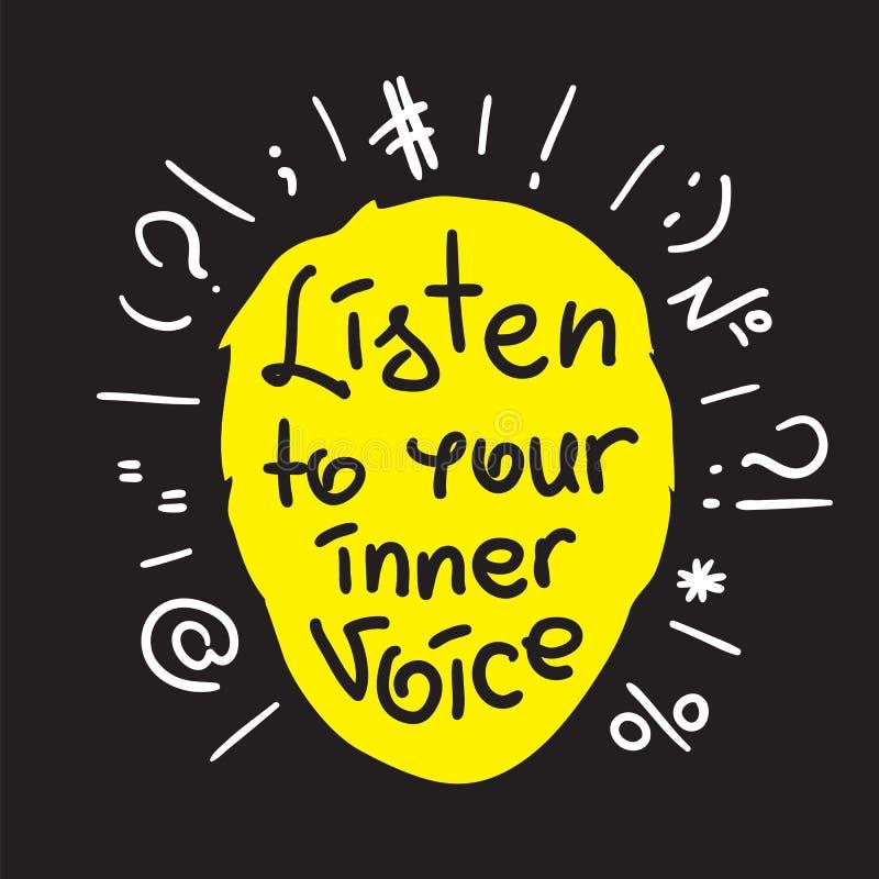 Escute sua voz interna - citações inspiradores escritas à mão ilustração royalty free