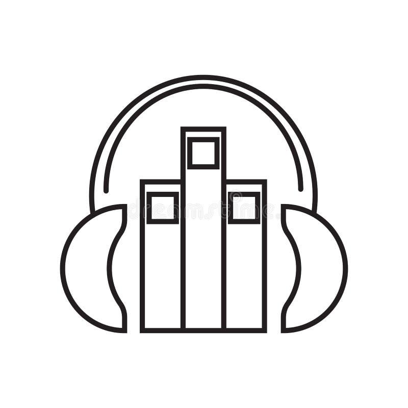 escute um livro audio com um vetor do ícone dos auriculares ilustração royalty free