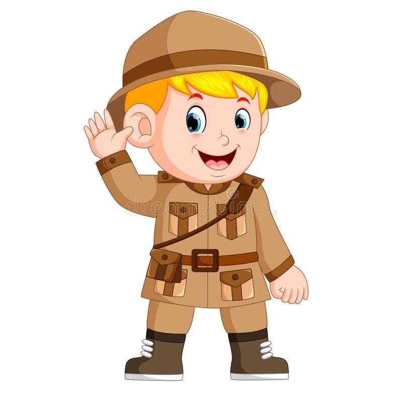 Escuteiro de rapaz pequeno dos desenhos animados ilustração royalty free