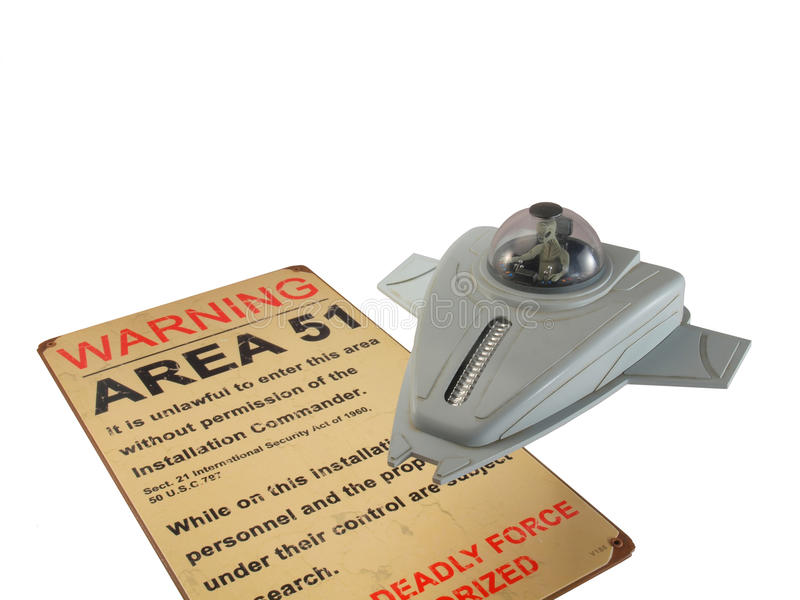 Escuteiro do UFO com sinal da área 51 imagem de stock