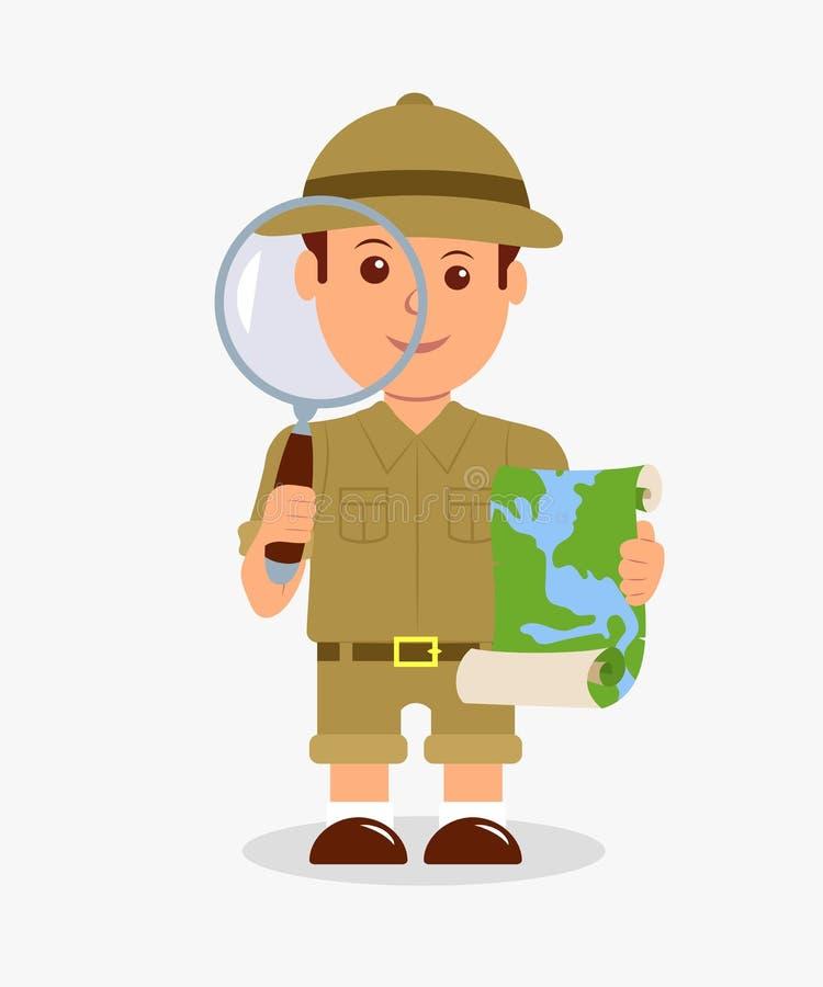 Escuteiro que guarda uma lente de aumento e um mapa em um fundo branco Menino isolado do explorador do caráter do projeto de conc ilustração royalty free