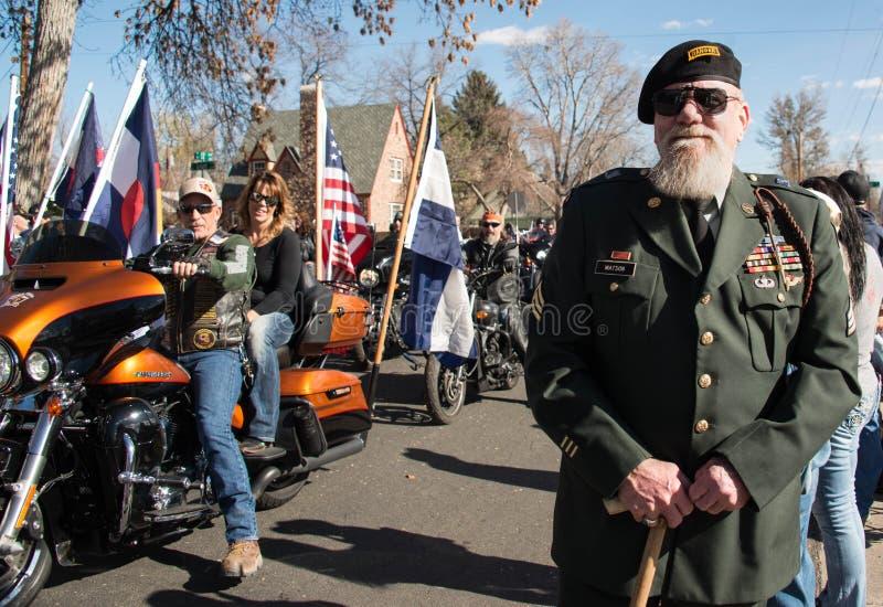 Escuteiro Sergeant John Watson da guarda florestal do exército do veterano na parada e na cerimônia anuais do dia do ` s do veter fotos de stock