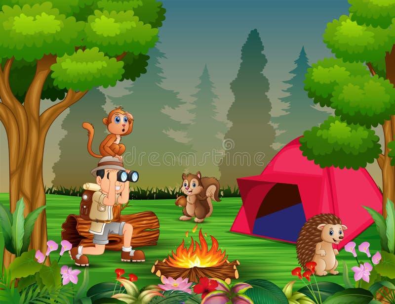 Escuteiros de menino com muitos animais no acampamento ilustração do vetor