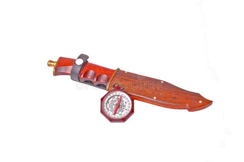 Escuteiros do menino do vintage do compasso de América com caça foto de stock royalty free