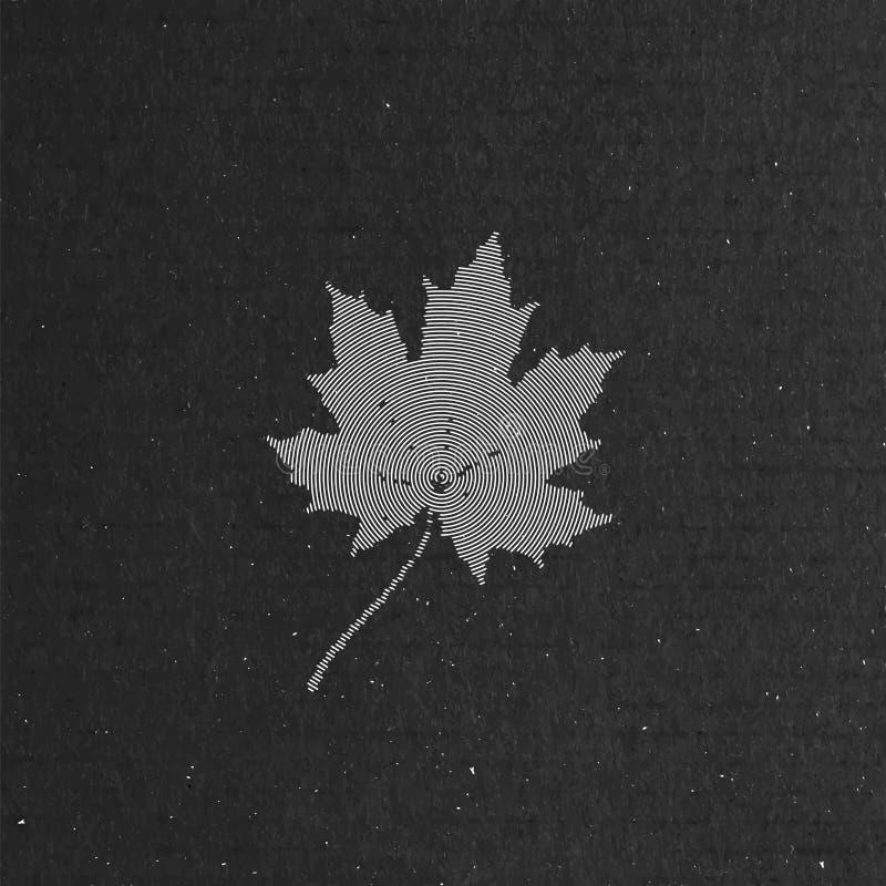 Esdoornblad op kartontextuur Het concept van de herfst Geïsoleerd stock illustratie