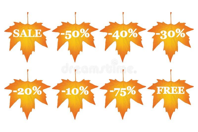 Esdoornbladeren met verkoopkortingen royalty-vrije illustratie
