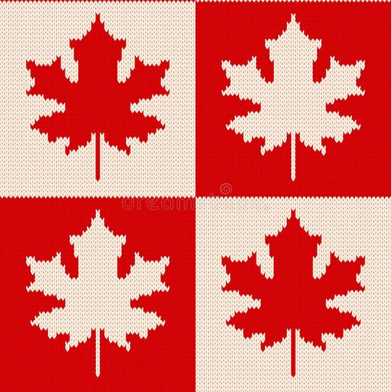 Esdoornbladeren op geruite achtergrond - Naadloos breiend patroon vector illustratie