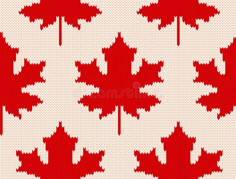 Esdoornbladeren op wit - Naadloos breiend patroon vector illustratie