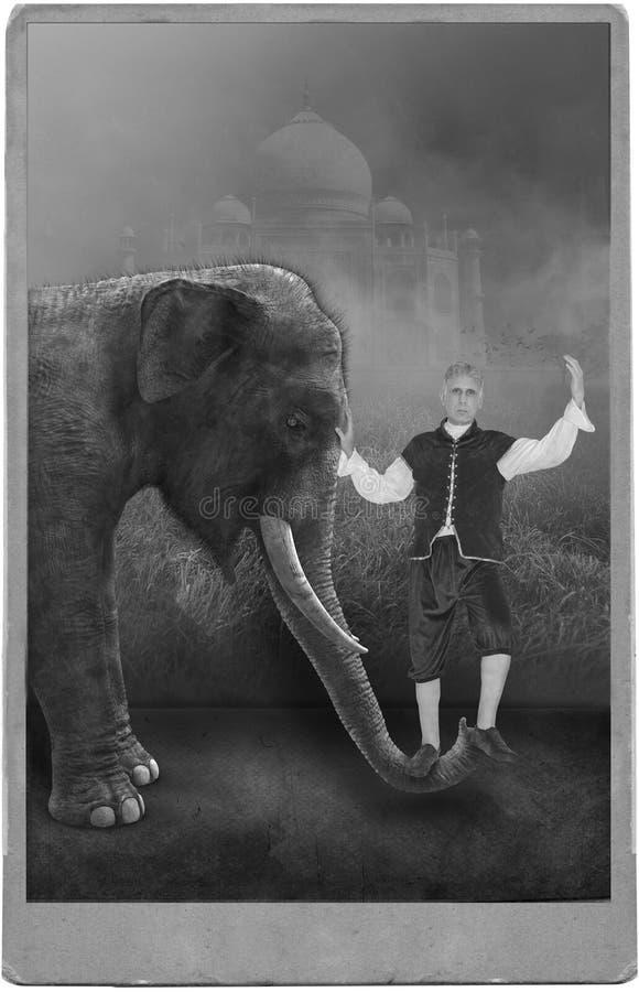 Esecutore di circo d'annata, carnevale, elefante fotografia stock libera da diritti