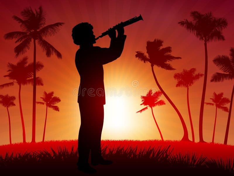 Esecutore in tensione del clarinet su priorità bassa rossa tropicale royalty illustrazione gratis