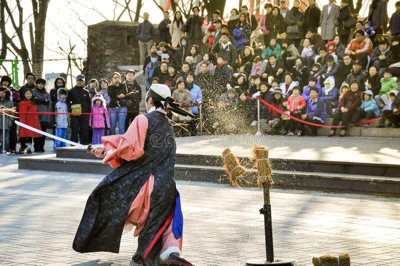 Esecutori tradizionali di arte marziale alla torre di Seoul immagini stock libere da diritti