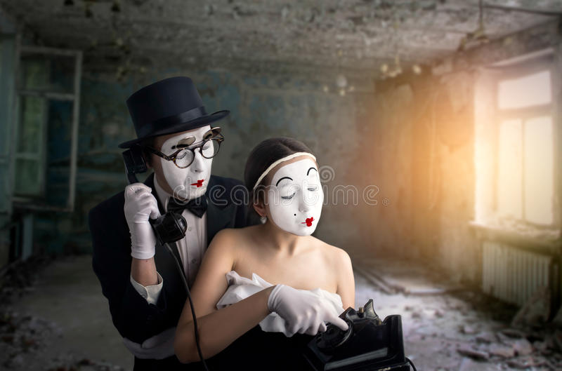 Esecuzione dell'attore e dell'attrice del teatro di pantomimo immagini stock libere da diritti