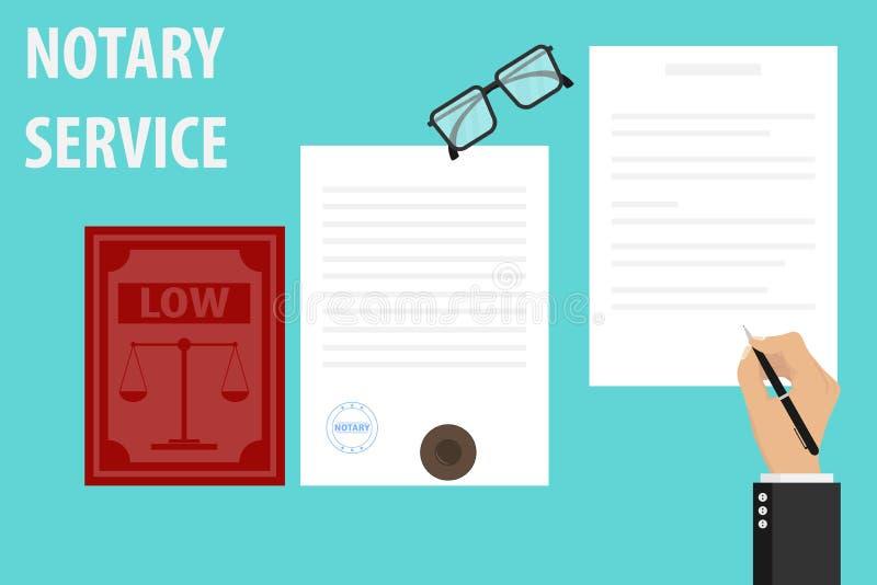 Esecuzione di servizio del notaio della guarnizione e della firma dei documenti sulle carte Il notaio firma il documento ed i bol royalty illustrazione gratis