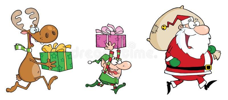 Esecuzioni del Babbo Natale, dell'elfo e della renna con i regali illustrazione vettoriale