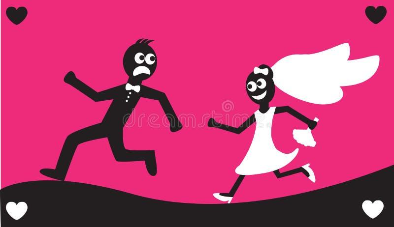 Esecuzioni dello sposo a partire dalla sposa illustrazione vettoriale