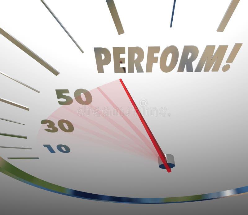 Esegua il tachimetro di parola agiscono raggiungono il successo veloce illustrazione di stock