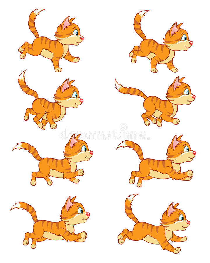 Eseguire Cat Animation Sprite royalty illustrazione gratis
