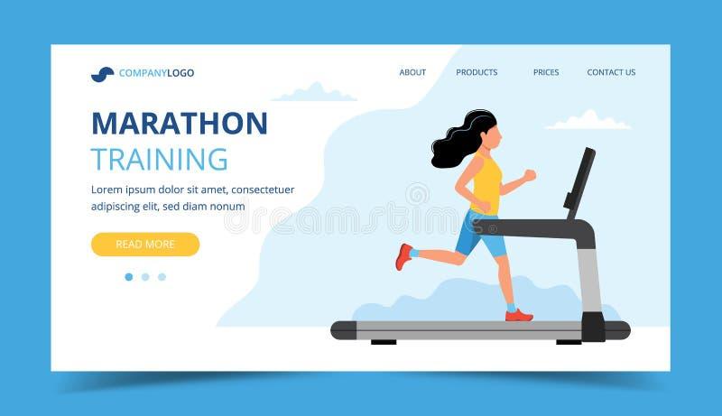 Eseguire il modello d'atterraggio della pagina Funzionamento della donna sulla pedana mobile Illustrazione per la maratona, funzi illustrazione vettoriale