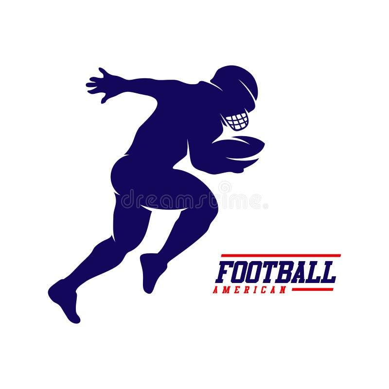 Eseguire la siluetta di logo del giocatore di football americano, logo di football americano illustrazione vettoriale