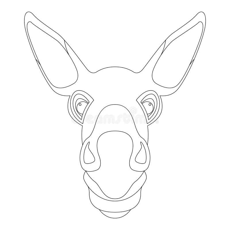Eselgesichtskopfvektor-Illustrationsmalbuch vektor abbildung