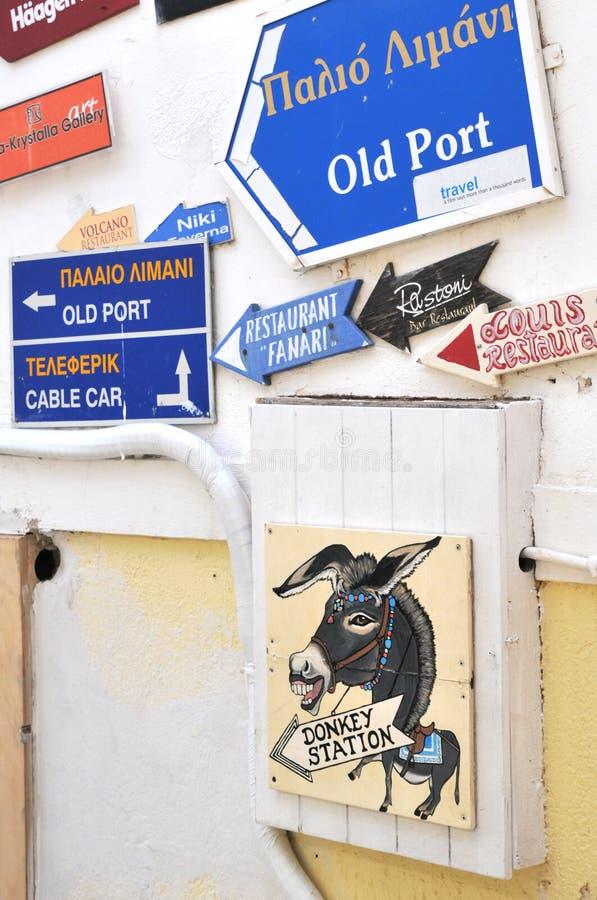 Eselstationszeichen, Santorini lizenzfreies stockbild