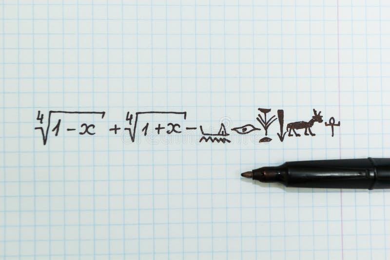 Esempi matematici complessi nel taccuino come geroglifici egiziani fotografie stock libere da diritti