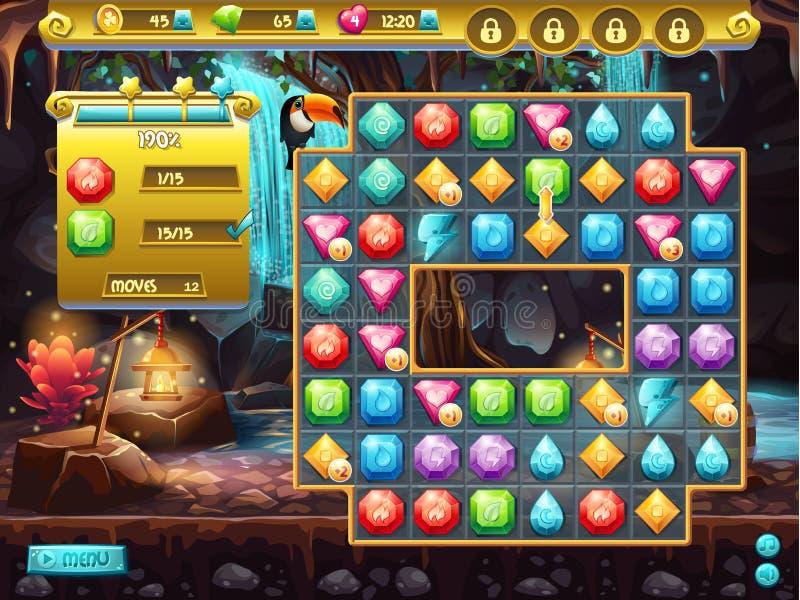 Esempio dell'interfaccia utente e del campo da gioco per un gioco di computer tre in una fila Caccia di tesoro royalty illustrazione gratis