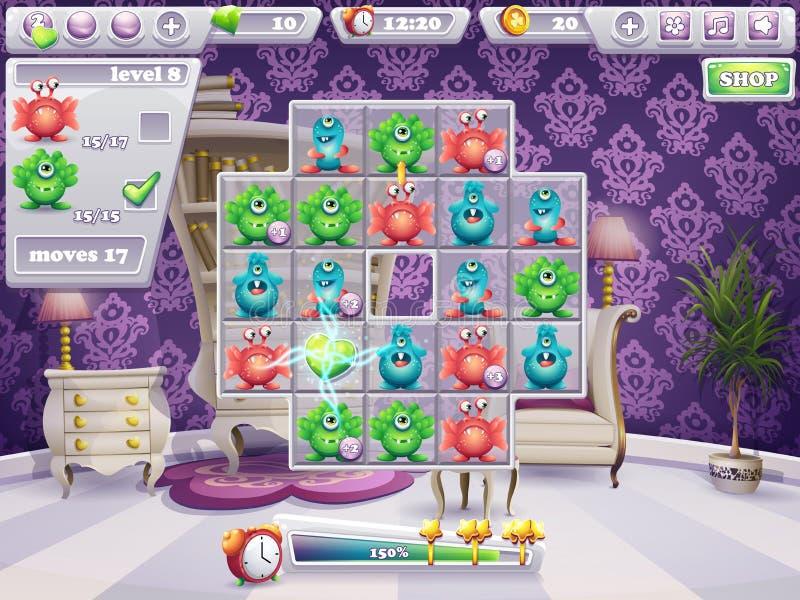 Esempio della finestra del campo da gioco ed i mostri ed il web design del gioco di computer dell'interfaccia illustrazione di stock
