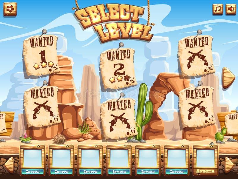 Esempio dello schermo livellato di selezione per i selvaggi West del gioco di computer royalty illustrazione gratis