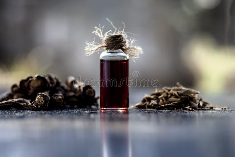 Esencia de la zarzaparrilla o del nannari india usado como una sustancia aromática o extracto, en casi todos los sherabats para t foto de archivo libre de regalías