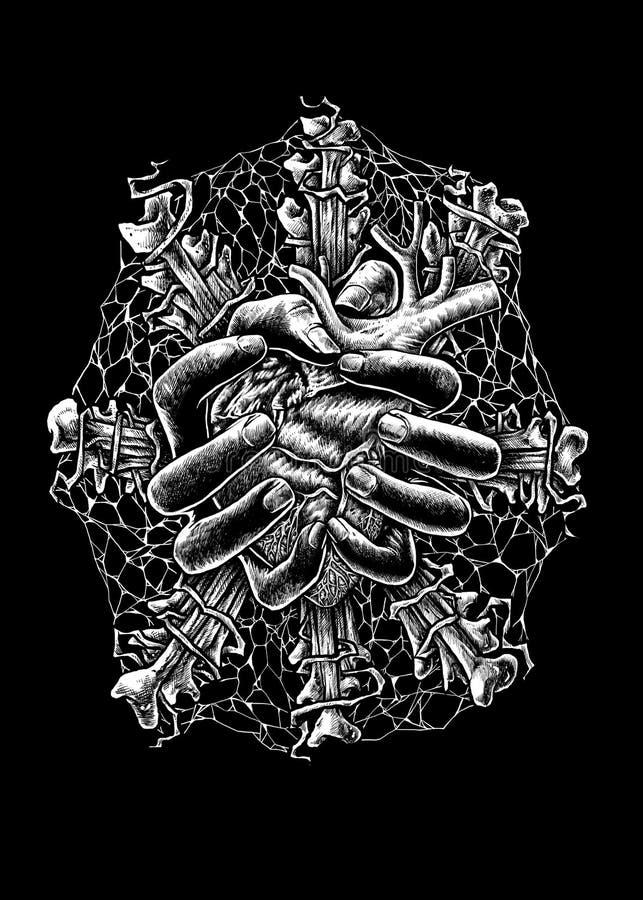 Esencia del ejemplo del arte del diseño de la muerte stock de ilustración