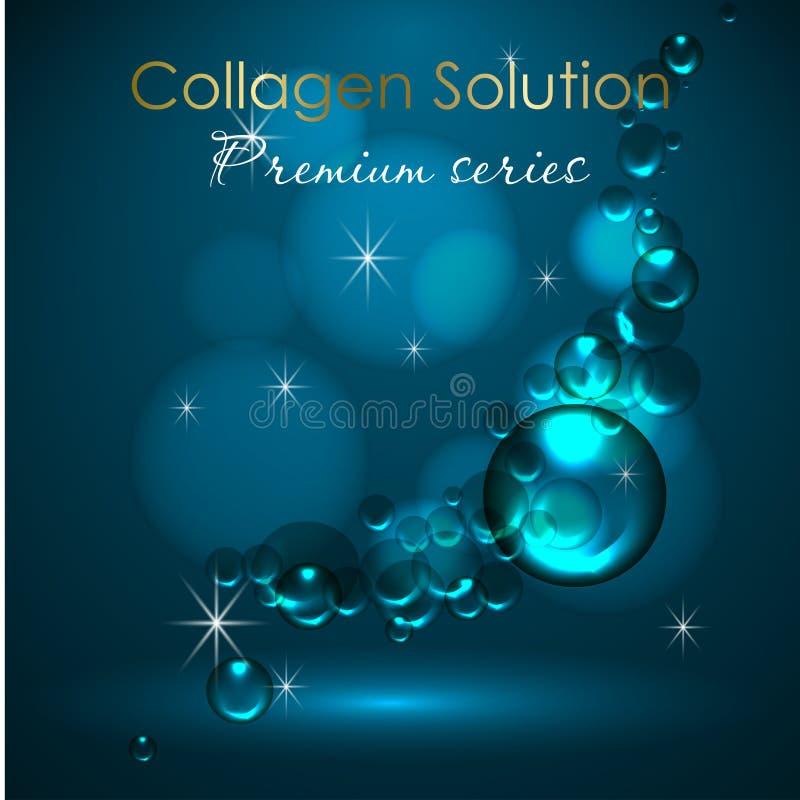 Esencia y una crema para el cuidado de piel ejemplo realista del vector 3d Descensos de la solución, del suero y del agua del col libre illustration