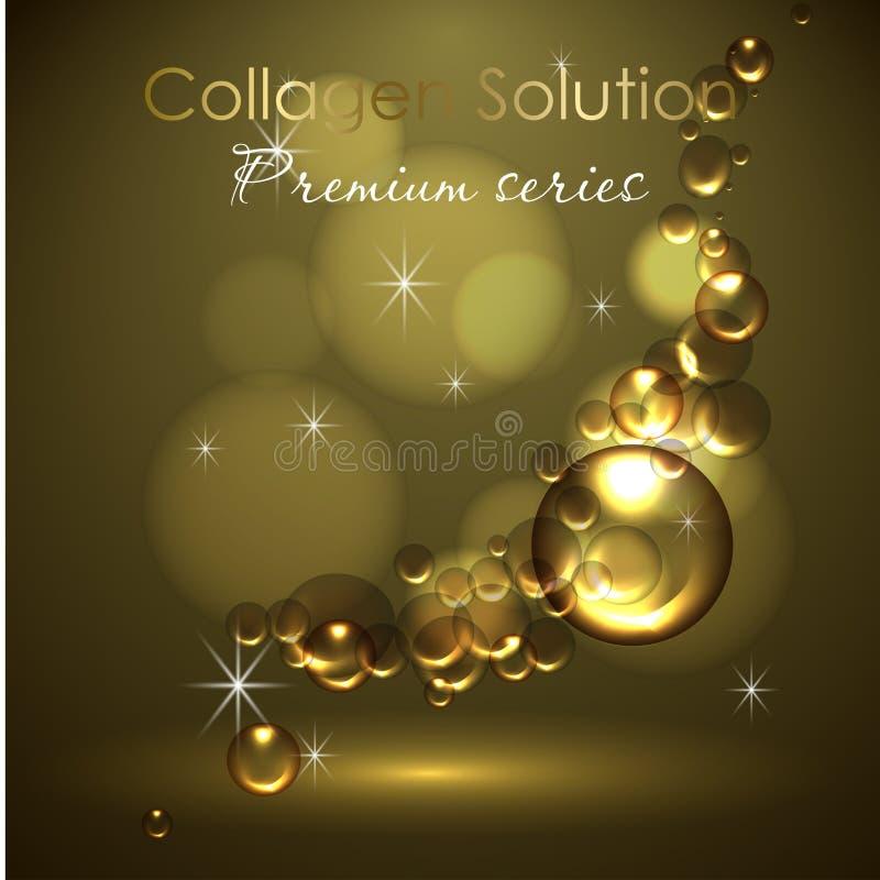 Esencia y una crema para el cuidado de piel ejemplo realista del vector 3d Solución del colágeno, descensos del aceite El diseño  ilustración del vector