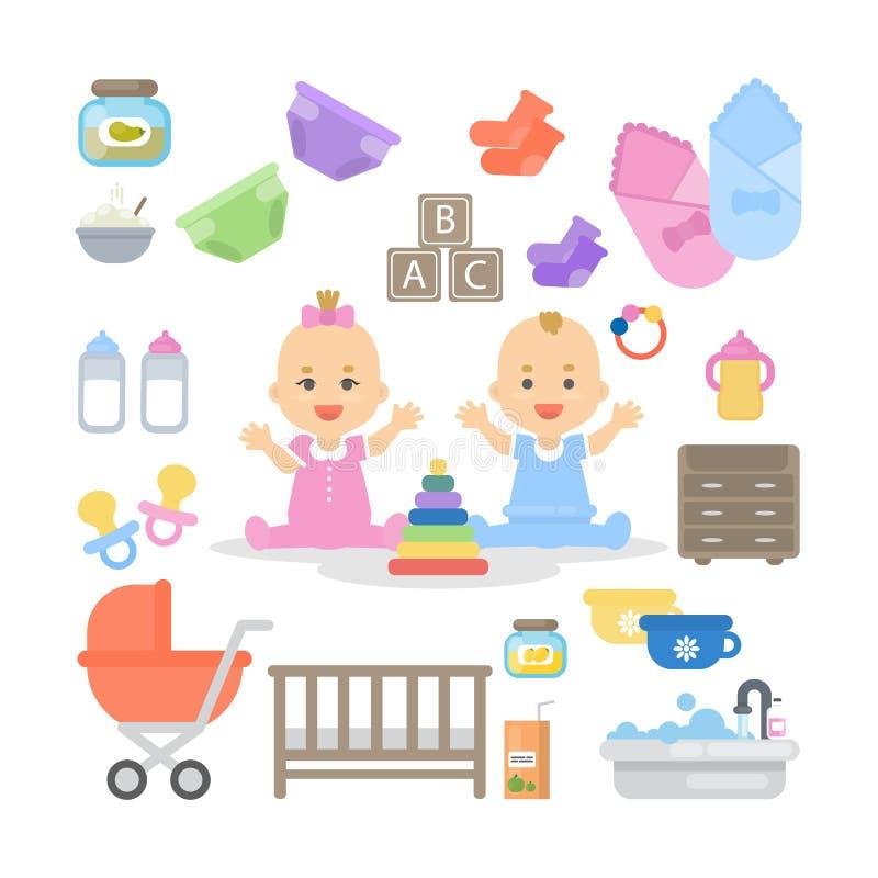 Esencial del bebé fijado ilustración del vector