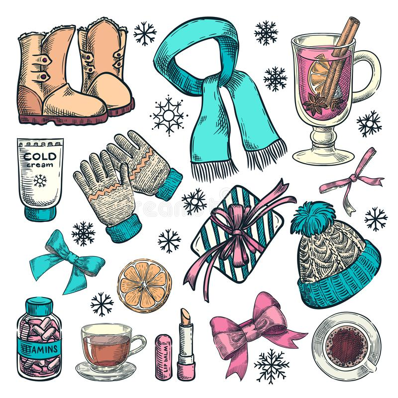 Esencial del invierno o del otoño, ejemplo del bosquejo del color del vector Ropa de moda exhausta de la mano, accesorios de la c ilustración del vector