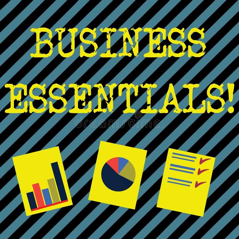 Esencial del negocio de demostraci?n de la muestra del texto Ideas dominantes importantes de la foto conceptual de mejorar la pre stock de ilustración
