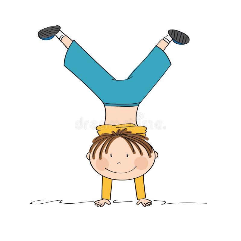 Esercitando ragazzo divertendosi, sorridere, facente verticale illustrazione di stock