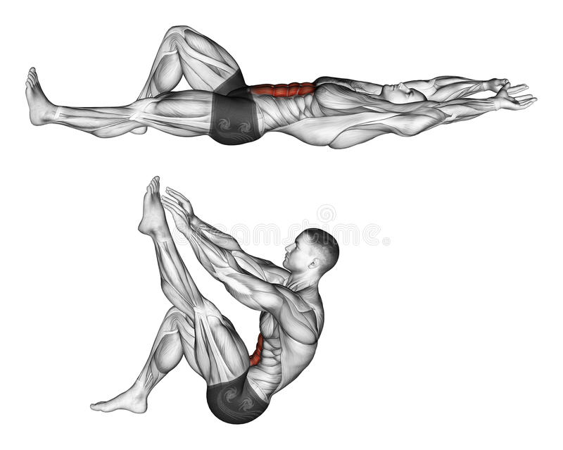 esercitarsi Flessione del tronco con le gambe che tirano sulla gamba illustrazione di stock