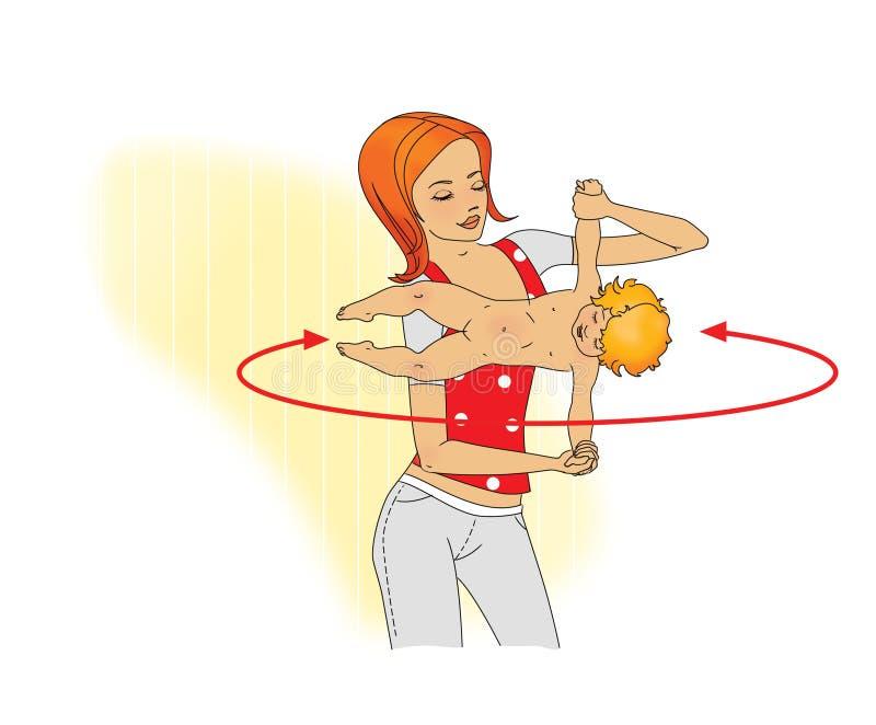 Esercitazione con il bambino La giovane donna che fa gli esercizi con il bambino gira orizzontalmente alla lunghezza del braccio illustrazione di stock